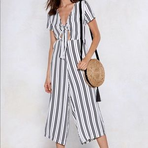 Nasty Gal White and Black Striped Romper Jumpsuit